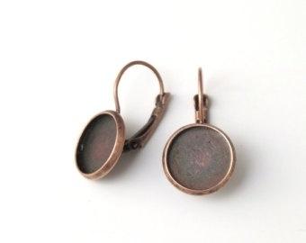 L96 Earring setting blank DIY 14mm | Red Copper 5 paar