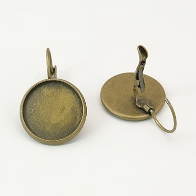 C18/2 Earring setting blank DIY 14mm | bronze