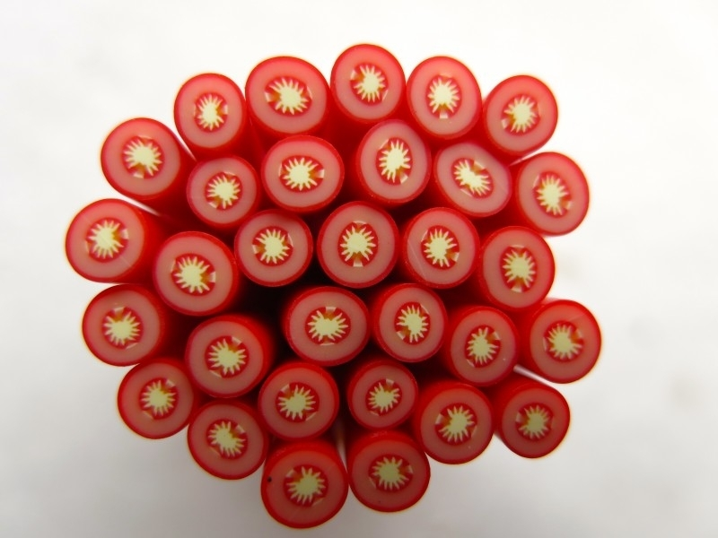 Polymer clay cane   TOMATO   50mm