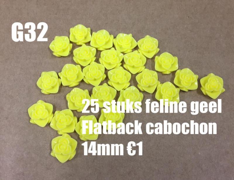 C31 25 stuks Feline geel 14mm flatback cabochon