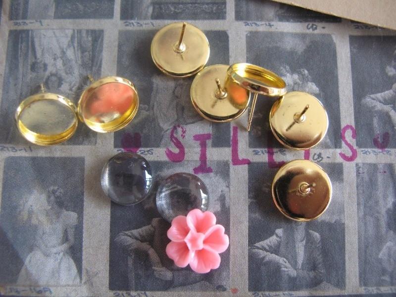A28 Oorbellen DIY settings 12mm stekers - goud 5 paar