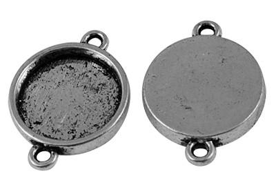 A11/1 Cabochon setting   Connector Poppi   Silver (16mm) 10 stuks
