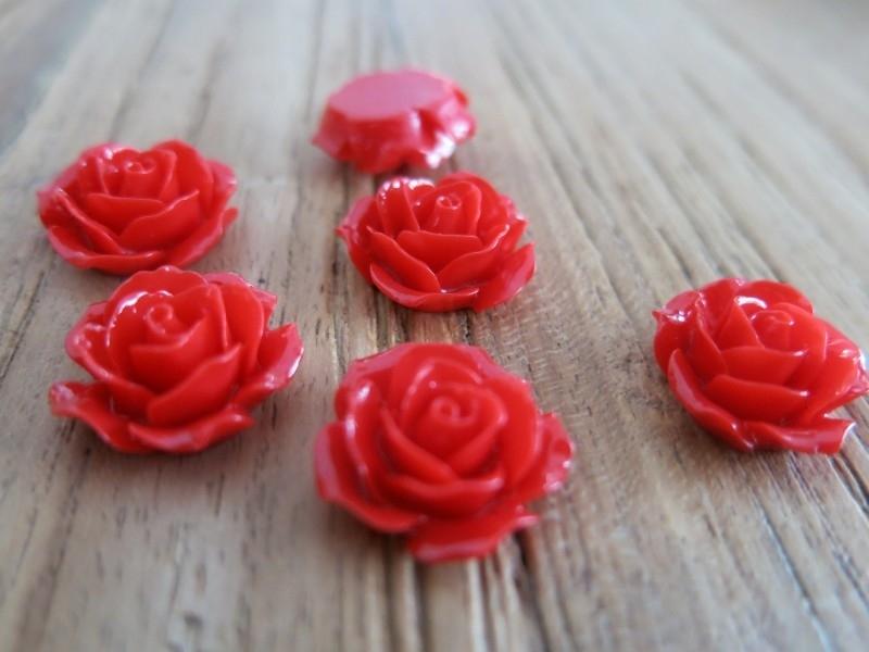 A20 Flatback cabochon resin rose | Roya RED 19mm 20 stuks