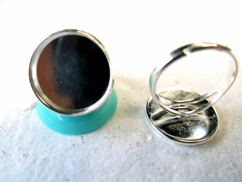 JEANINE    Ring met 16mm plakstuk zilver  10 stuks
