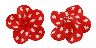 A29/1 Polymer Cabochon / Kraal - Polkadot Hearts wit/rood 10 stuks