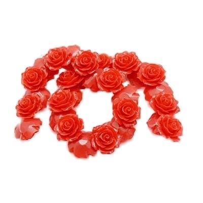 REZA | resin flower bead | 18mm | ROOD 25 stuks C11