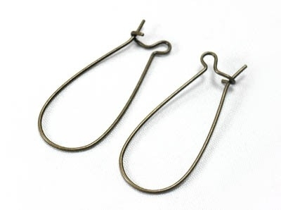 B50 Earring component | big hook bronze 25 pair