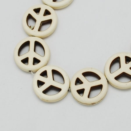 PEACE | Howlite beads 15mm | WIT 25 stuks