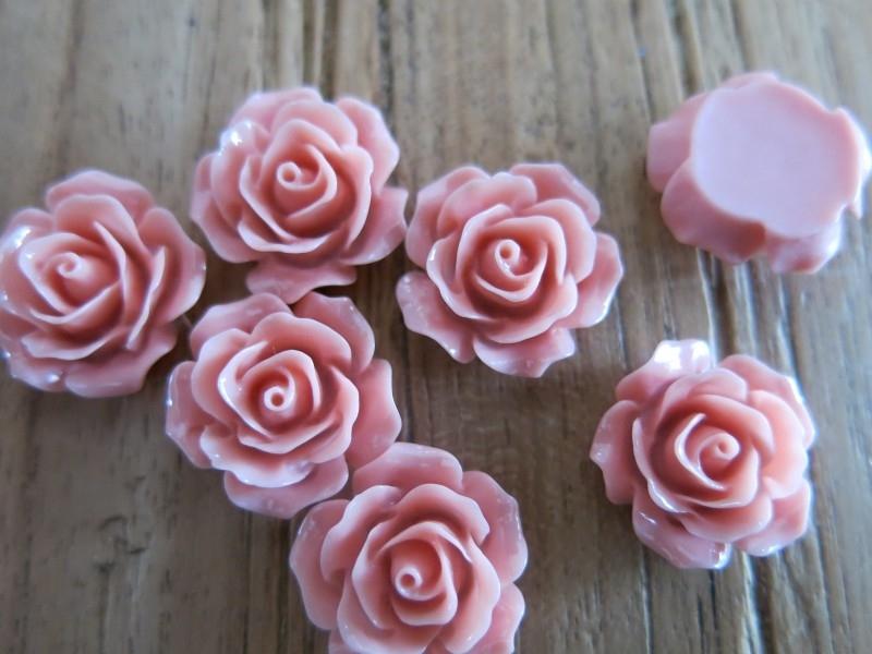 A20 Flatback cabochon resin rose | Roya LIGHT CORAL 19mm 20 stuks