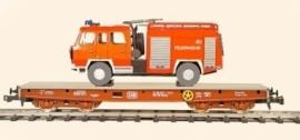 492 platte wagen 4 assen CSD  serie Smmp met lading