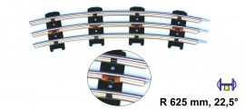 Merkur 9910 gebogen rail 625 mm 22,5° blik spoor 0