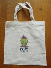 linnen tasje met een cactus applicatie