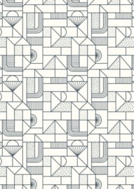 Frome  - all over geometric navy on cream