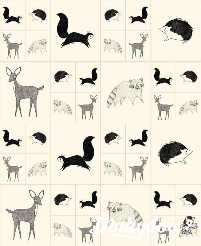Bramble - forest animals cream/ black