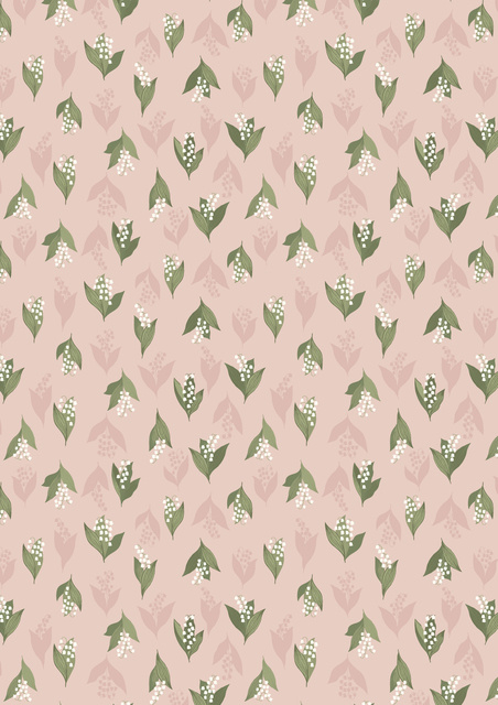Lily of the valley on blush pink