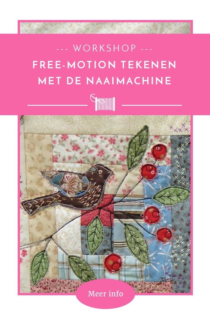 Workshop Quilt Fûgeltsje 'free-motion tekenen op de naaimachine'