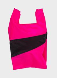 Shopping Bag Fluo Pink & Black - M