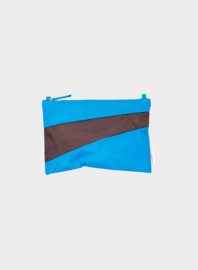 Pouch Sky Blue & Brown - S