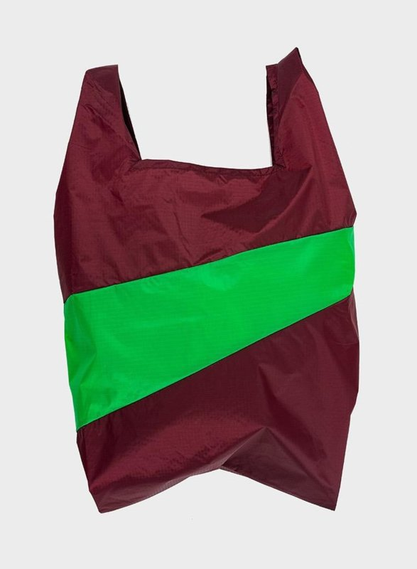 Shopping Bag Burgundy & Greenscreen - M