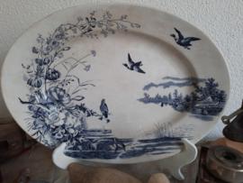 Antieke Zweedse serveerschaal blauw decor