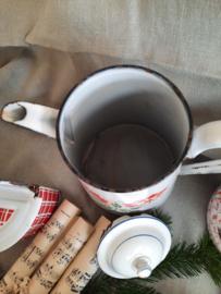 Emaillen koffiepot met rood-groen decor