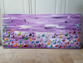 Purple Sea - 160 x 70 x 4,5 - Toile á la cendre