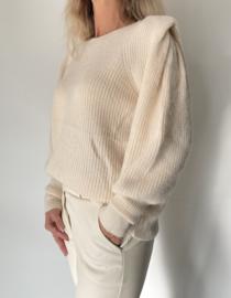 Knit trui Creme met pofschouders