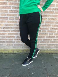 Travel pantalon met bies groen