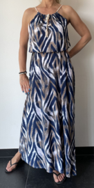 halter jurk zebraprint travelstof