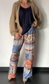 Wijde pantalon satijn met print