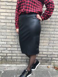 Lederlook Kokerrok  zwart