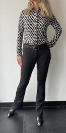 Travel blouse met print zwart-wit
