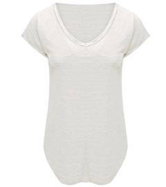 T-shirt V-hals met glimmende lak