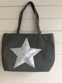 Tas canvas grey met ster