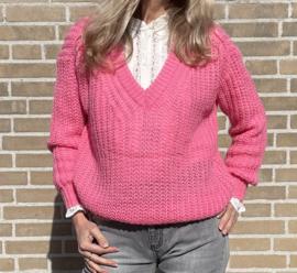Sweater V-hals Azzuro Roze
