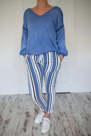 Broek streep blauw - wit