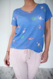 T-shirt Flamingo Blauw