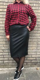 Koker rok lederlook zwart