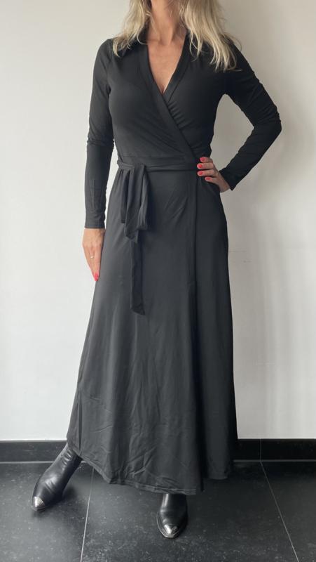 Lange overslag jurk travelstof