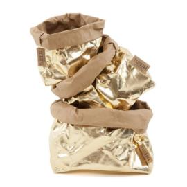 Paper bag metallic goud small