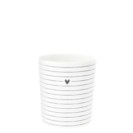 Mug White heart &  stripes in black