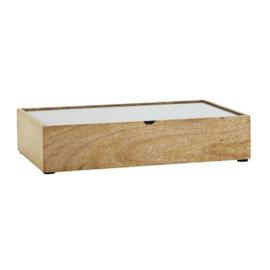 Opbergbox hout glas L