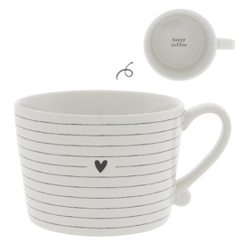 Cup White/Stripes heart in black