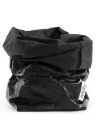 Paper bag metallic zwart medium