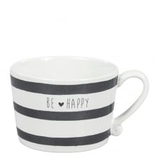 Mug  white/stripes & be happy in black