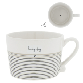 """Cup white/ stripes """"Lovely day"""""""