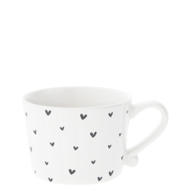 Mug Small White/little hearts in black 8.5x7.2x6cm