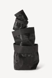 Paper bag metallic zwart small