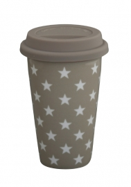 Travel mug, taupe star