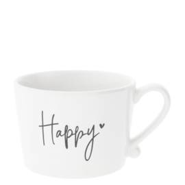 Mug white with happy In Black